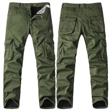 बिग साइज मोटी फ्लीस कार्गो पैंट शीतकालीन पुरुषों आरामदायक कपास पतलून पैंट
