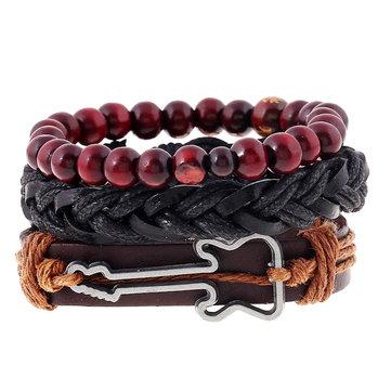 vendimia Buddha Beads Bracelet Guitar encanto Pulsera de cuero de vaca multicapa Wristband para hombres