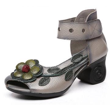 SOCOFY Women Flower Retro Genuine Leather Handmade Sandals