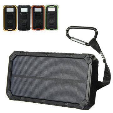 8000mAh Solar Waterproof Portable Charger Dual USB Battery Power Bank