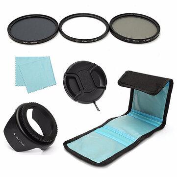 7 Cái 67mm UV CPL Phân cực ND 4 Bộ lọc ống kính Mũ trùm đầu cho Canon Nikon Máy ảnh Sony DSLR