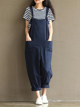 S-5XL Casual Women Loose  Strap Pocket Jumpsuit Trousers