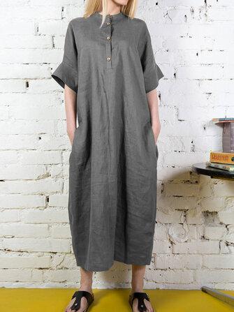 女性の半袖ボタンロングシャツソリッドカラーマキシドレス