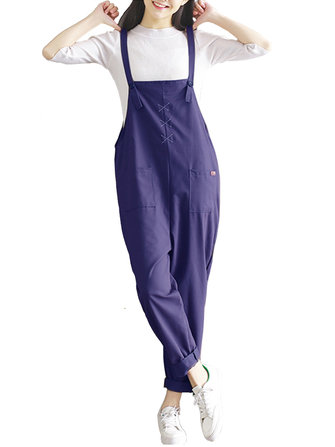 Casual Women Cotton Pure Color Sleeveless Pocket Overalls