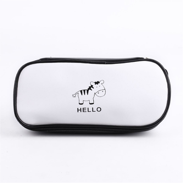 1 Pcs Pencil Case Kawaii Black And White Cat zebra Pencil Case Lovely Waterproof PU Pencil Bags School Office Supplies Pencil Cases
