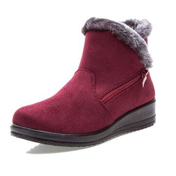 ניו גדול גודל נשים חורף המגפיים עגול אצבע הקרסול נעלי שלג קצר