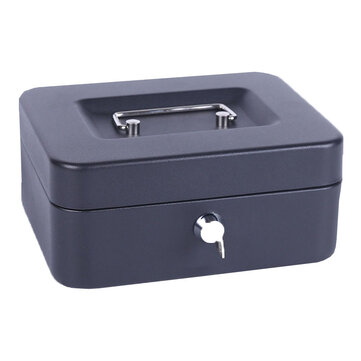 High Quality 6  Size S Portable Money Safe Box Cash Box With 2 Keys and Tray Lockable Security Safe Box Durable Steel