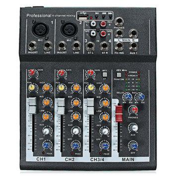 48V Professional 4-Channel Live Studio Audio Sound USB Mixer Mixing Console