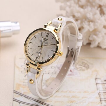 Mode Colorful Leather Band Wanita Simple Dial Rose Gold Case Quartz Watch