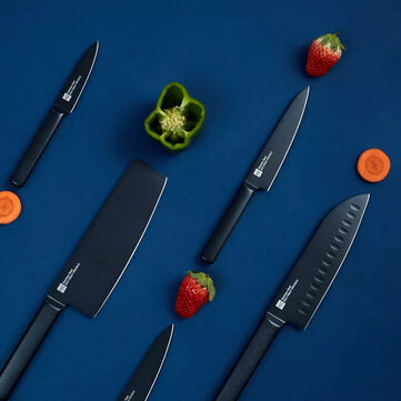 HUOHOU 5PCS Non stick Stainless Steel Kitchen Knife Set Chef Knife Fruit Knife Chopper Slicer Blade from Xiaomi Youpin Cool Black Coupon Code and price! - $55