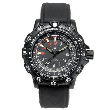 THỜI GIAN ™ 8015 Quân đội Hiển thị dạ quang Đồng hồ đeo tay nam Dây đeo silicon Đồng hồ đeo tay thạch anh