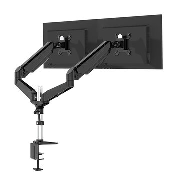 BlitzWolf® BW_MS4 Dual Monitor Stand with Dual Pneumatic Arms 32″ Monitor Stand 360° Rotation, 85°~+90°Tilt, 180°Swivel, Adjustable Height and Cable Management