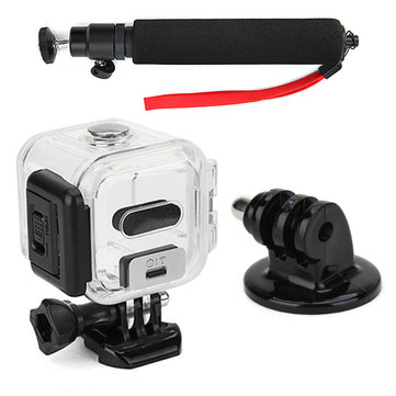 Protetive 45mm Waterproof Housing Case and Selfie Stick Monopod and Tripod Mount Adapter With Red Strap For Go
