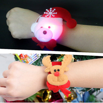 Christmas Clap LED Light Headbands Ring  Band Slap Bracelet Christmas Party Funny Santa Christmas Gift