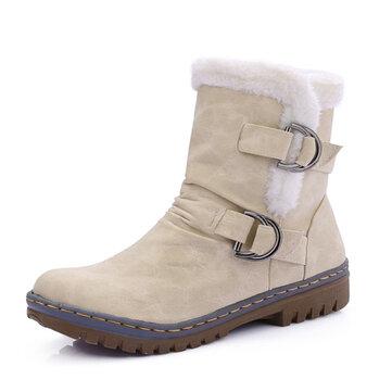 """ארה""""ב גודל 5-12 נשים פרווה בטנה לשמור על חם אבזם כותנה שלג המגפיים"""