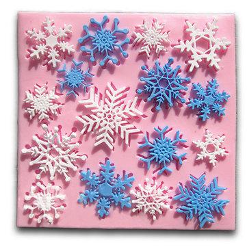 Molde de Pastel de Fondant de Copo de Nieve de Navidad Herramienta de Decoración de Módulo de Silicona