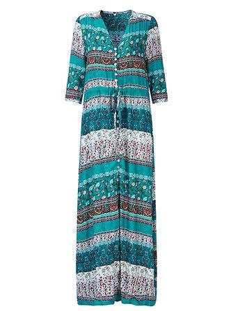 Kadın Vintage Sleeve Çiçekli Baskılı Seksi Split Plaj Maxi Elbiseleri