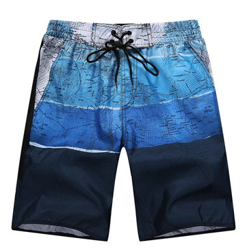 Summer Leisure Vacation Fashion Casual Splicing Beach Shorts Plus-size S-4XL Men Fifth Pants
