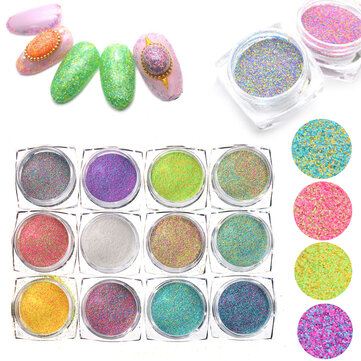 Buy 12 Colors Nail Glitter Powder Mixed Candy Sugar 3D Nail Art Manicure Decoration with Litecoins with Free Shipping on Gipsybee.com