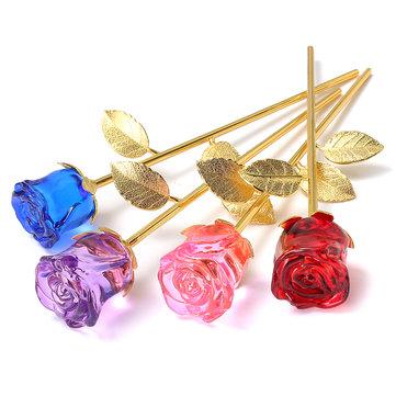 Kaca Kristal Mawar Emas Ornamen Bunga Hadiah Valentine Hadir dengan Kotak Dekorasi Rumah
