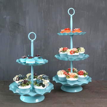 2 / 3 Ters Blue Cake Holder Cupcake Stand Birthday Wedding Party Display Holder Decorations