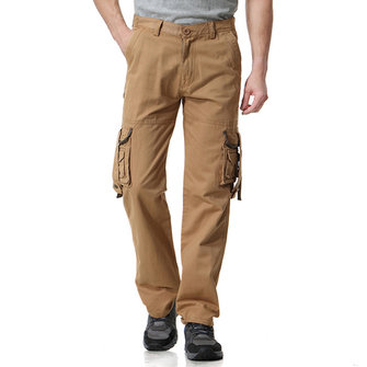 Men's 100% Cotton Outdoor Multi Pockets Wear Resistant Fit Straight Casual Cargo Pants