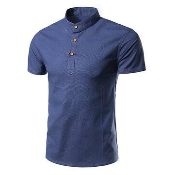 ग्रीष्मकालीन पुरुषों कपास स्टैंड कॉलर लघु आस्तीन टी शर्ट आरामदायक स्लिम फिट ठोस रंग शीर्ष Tees