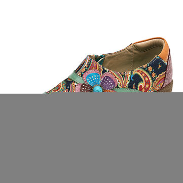 Socofy Large Size Women Casual  Floral Zipper Pumps