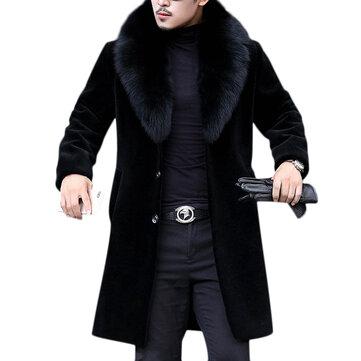 Áo khoác nam Faux Fur Slim Fit Mid Long Winter Winter Black Black Jacket Jacket