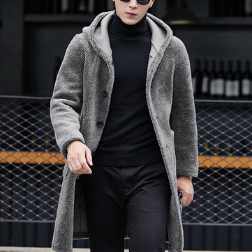 Mens Double Sided Wearable Shearling Coat Hooded Mid Long Faux Fur Woolen Coats