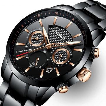 CRRJU 2212 uomini impermeabili del calendario orologi alla moda orologio al quarzo cinturino in acciaio inox