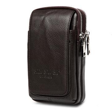 Genuine Leather Multi-function Fanny Waist Bag Belt Bum Pouch Phone Bag Coin Purse For Men
