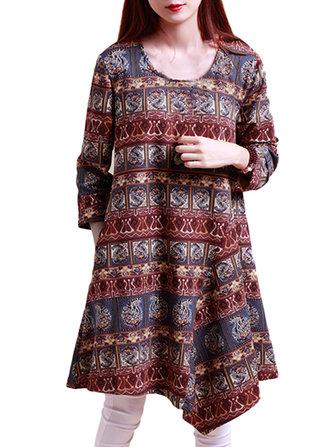लोक शैली महिला मुद्रित अनियमित ओ गर्दन लंबी आस्तीन पॉकेट ड्रेस