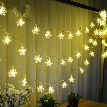 Giáng sinh Bông tuyết LED Đèn pin Chuỗi Lễ hội Trang trí đám cưới Pin không thấm nước