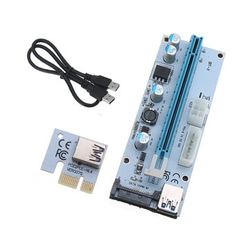 USB3.0 PCI-E 1x To 16x SATA +4P+6P Extender Riser Card Adapter Power Cable Miner