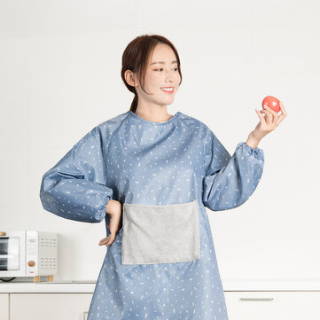 Multifunction Kitchen Waterproof Apron Oilproof Long-Sleeved Cooking Work for Home Kitchen Tool