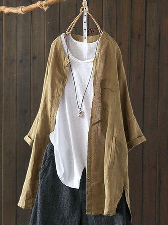 Women  Button Down Asymmetric Vintage Blouse