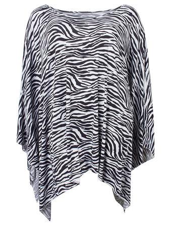 Sexy Women Zebra Stripes Print One Shoulder Irregular Hem Cloak Dress
