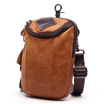 Men Genuine Leather Crossbody Bag Riding Hip Bum Waist Pack Small Messenger Bag with Shoulder Strap
