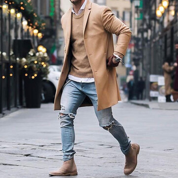 INCERUN Mens Mid-long longitud Color sólido Large Trench Coat Single-Breasted Jacket