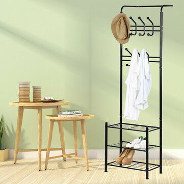 Metal Clothes Shoe Rack Stand  Hat Coat Bags Shelf Garment Hanger Hooks for sale in Litecoin with Fast and Free Shipping on Gipsybee.com