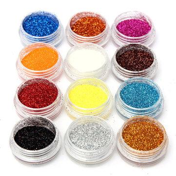 12 Warna Acrylic Nail Art Tips Glitter Powder Dust