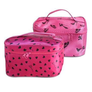 Multifunctional Double Layers Dots Makeup Bag Cosmetic Storage Case Travel Portable Toiletry Handbag