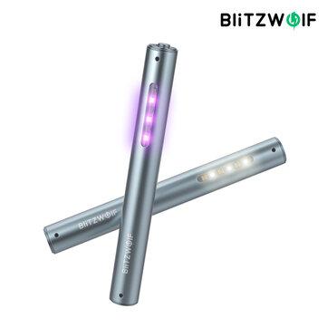 BlitzWolf BW-FUN9 UV Sterilamp Handheld Charging Household White LED Sterilization Lamp 2 in 1 Disinfection Lighting Lamp - Silver