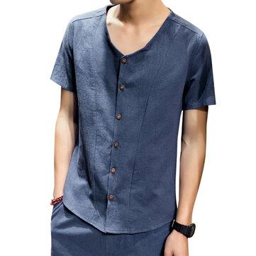 Soft Comfy Linen Cotton V Neck Kortärmad Lösa Skjortor för Män