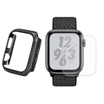 Enkay Carbon Fiber Watch Cover + 3D Buet Edge Hot Bending Watch Beskyttelsesfilm For eple Watch Series 4 44mm