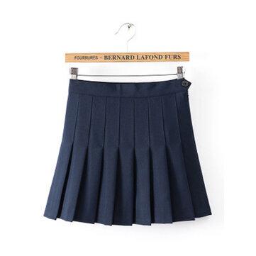Dulce alta cintura plisado botón mujeres tenis mini faldas