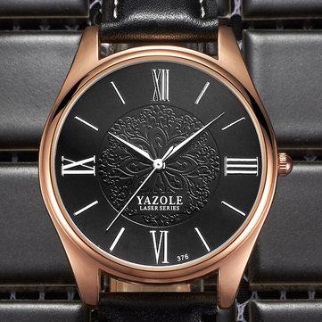 YAZOLE 376ファッションメンズクォーツウォッチラグジュアリーレーザーパターンビジネス腕時計