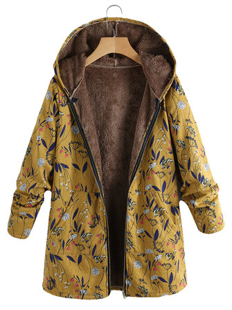 Plus Size Women Vintage Floral Print Long Sleeve Hooded Coats with Pockets