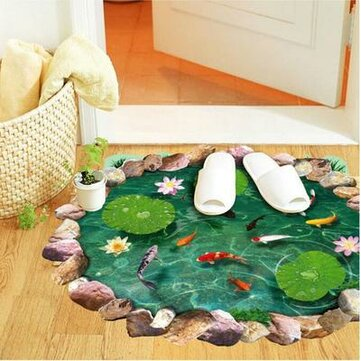 Miico 3D Creative PVC Wall Stickers Home Decor Mural Art Removable Pond Wall Decals